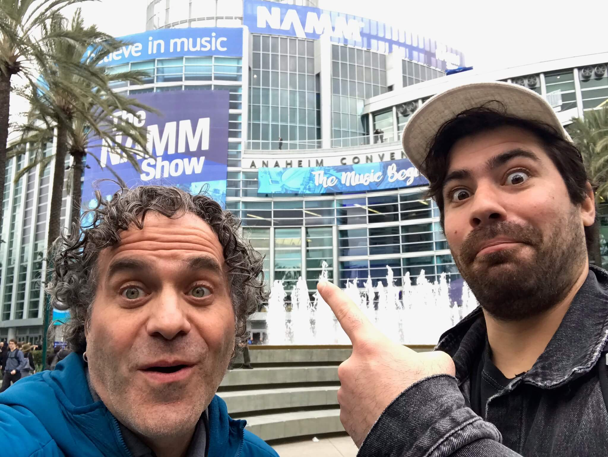 Dmitri Vietze and Jade Prieboy posing at NAMM Show 2020, where they hosted a flash Music Technology meetup and recorded podcast interviews with innovative music tech companies KORG, Moog, AVID, Antares, and more!